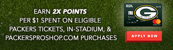 Barclays Earn 2x points per $1 spent on eligible packers tickets, in-stadium, & packersproshop.com purchases. Apply now.