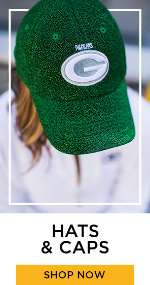 Green Packers Hats, shop now. Link to Packers Hats and Caps category page.