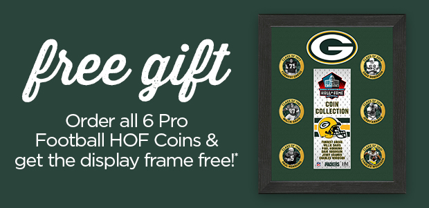 Free Gift! Order all 6 Football HOF Coins & Get the Display frame for Free!*